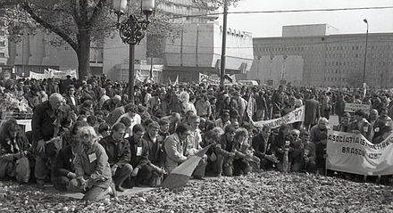 Anti-Communist rally in Bucharest (early 1990) RO B University square rally.jpg