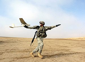 AeroVironment RQ-11 Raven - A soldier prepares to launch the Raven in Iraq