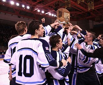 Ralston Valley High School - RV's hockey team hoists up the state championship trophy in 2013.