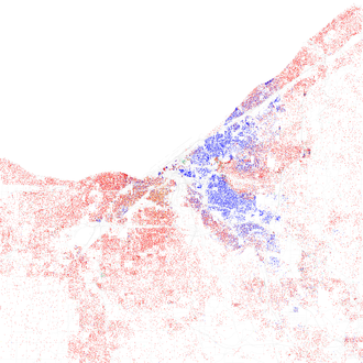 Map of racial distribution in Greater Cleveland, 2010 U.S. Census. Each dot is 25 people: White, Black, Hispanic, Asian, or Other (yellow) Race and ethnicity 2010- Cleveland (5560462500).png