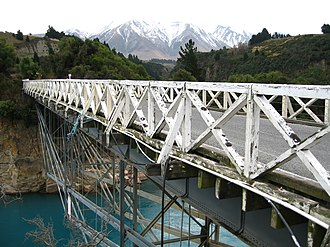 New Zealand State Highway 77 - State Highway 77 passing over the Rakaia Gorge Bridge, which was built in 1882