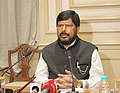 Ramdas Athawale addressing a press conference after meeting with the senior officers of the Government of Maharashtra about backlog appointments of SCST in the state, in Mumbai.jpg