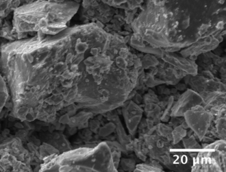 Raney nickel - SEM of Raney nickel catalyst in which crystals of 1-50µm are seen.