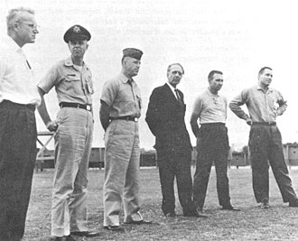 Ranger 5 - Ranger Program officials Assembled for the Ranger 5 Postlaunch Press Conference at Cape Canaveral. Left to Right: Friedrich Duerr, Major J. Mulladay, Lt. Col. Jack Albert, Kurt Debus, William Cunningham, and James Burke