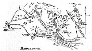 Invasion of the Waikato - Operations at Rangiaowhia and Hairini, showing positions captured by the British on 21–22 February 1864