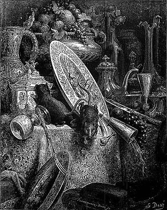 The Town Mouse and the Country Mouse - Gustave Doré's illustration of La Fontaine's fable