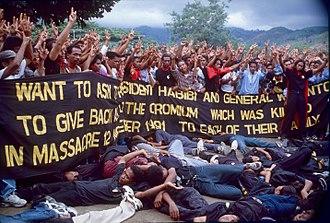 History of East Timor - A re-enactment of the Santa Cruz Dili massacre, November 1998