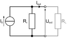 Rappresentazione di un generatore reale di corrente (il simbolo circolare rappresenta il generatore ideale)