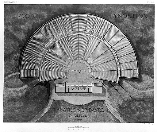Reconstruction; plan of the theatre at Epidaurus Wellcome L0011576