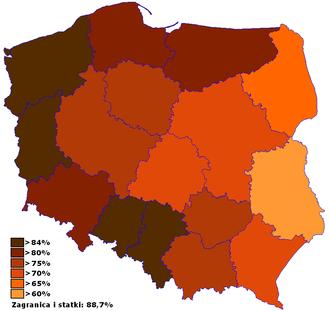 2003 Polish European Union membership referendum - Percentage of the Yes votes by voivodeships