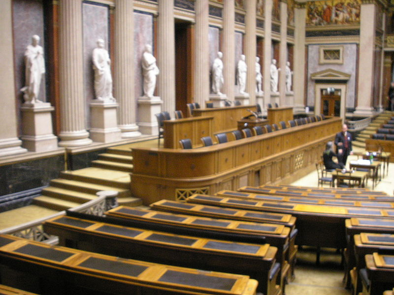 Debating Chamber of the former House of Deputies of Austria, in Vienna.