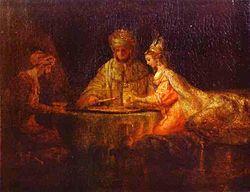 Rembrandt Harmenszoon van Rijn- Assuerus, Haman and Esther