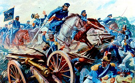 Captain Charles A. May's squadron of the 2nd Dragoons slashes through the Mexican Army lines. Resaca de la Palma, Texas, May 9, 1846. Remember Your Regiment, U.S. Army in Action Series, 2d Dragoons charge in Mexican War 1846.jpg