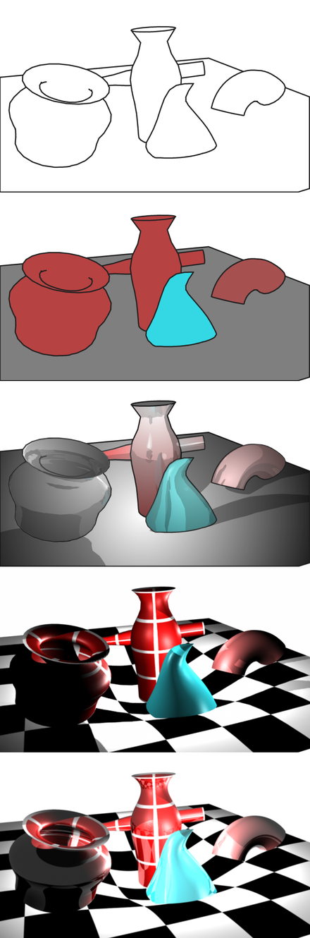 A variety of rendering techniques applied to a single 3D scene Render Types.png
