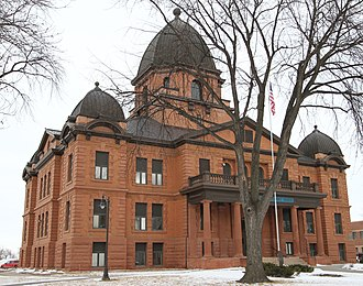 Renville County Courthouse and Jail - The courthouse from the southeast
