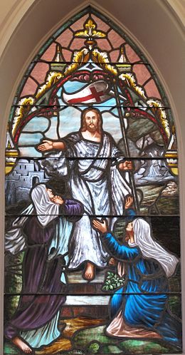 Stained glass of Resurrection with two Marys at a Lutheran Church, South Carolina. Resurrected Jesus two Maries.jpg
