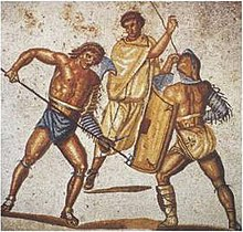 A retiarius stabs at a secutor with histrident in this mosaic from the villa at Nennig, Germany,