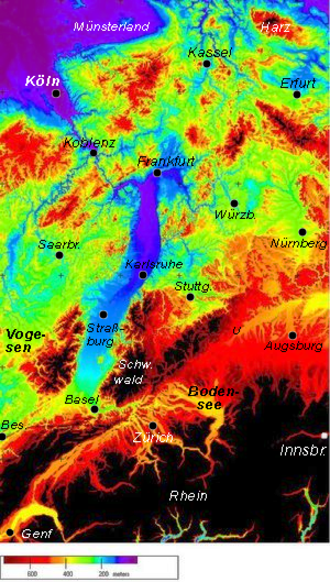 Upper Rhine Plain - Rhine Graben (blue shades) between Basel and Frankfurt with adjoining mountain ranges (green to brown); colour-coding according to digital elevation model