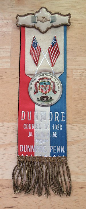 Junior Order of United American Mechanics - A JOUAM ribbon from Dunmore, Pennsylvania, early 20th century