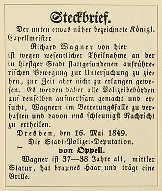 Richard Wagner - Warrant for the arrest of Richard Wagner, issued on 16 May 1849