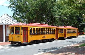 Gomaco Trolley Company - Gomaco-built replica double-truck Birney cars on the River Rail Streetcar in Little Rock.