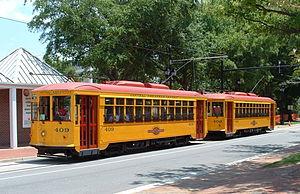Metro Streetcar - Two Metro streetcars pause at the HAM stop in June 2005