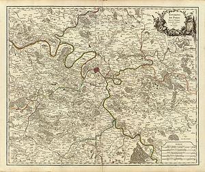 """Didier Robert de Vaugondy - Map Environs de Paris (""""Surroundings of Paris""""), from the first edition of the Atlas Universel, Paris 1757."""