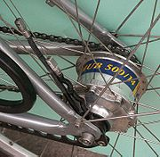 A bicycle with a hub gear.