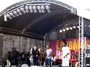 Grime (music genre) - Roll Deep, a well-known grime crew, performs at the 2006 Love Music Hate Racism festival.