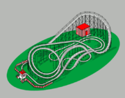 The track of a typical roller coaster. This track scheme is loosely based on the Crystal Beach Cyclone.