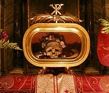Reliquia di san Valentino nella chiesa di Santa Maria in Cosmedin a Roma.