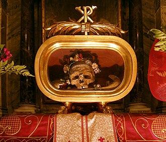 Saint Valentine - Relic of St. Valentine in the church of Santa Maria in Cosmedin, Rome.