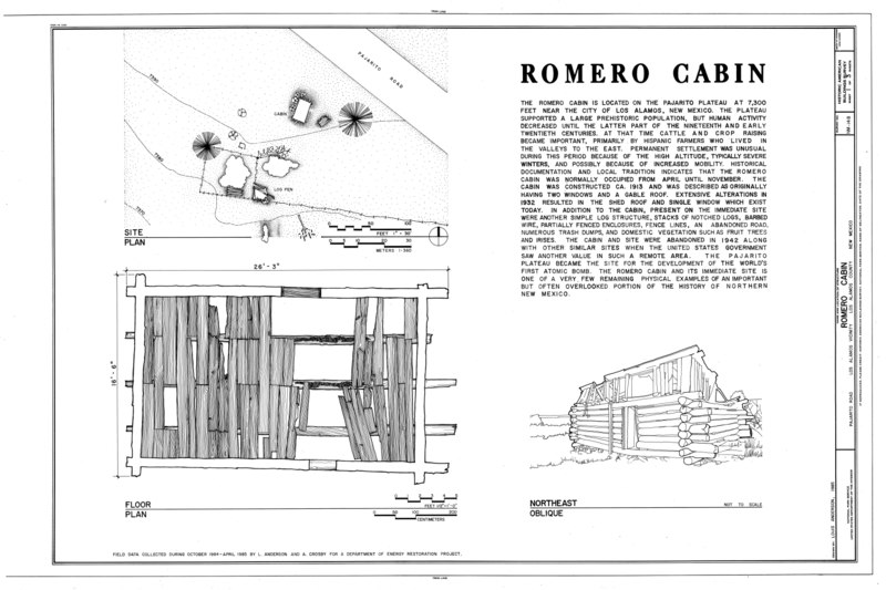File:Romero Cabin, Pajarito Road, Los Alamos, Los Alamos County, NM HABS NM,32-LOSAL.V,1- (sheet 1 of 3).tif