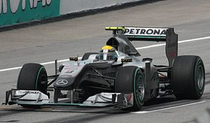 2010 Malaysian Grand Prix - Nico Rosberg achieved the first podium for Mercedes; the first works Mercedes podium since the 1955 Italian Grand Prix.