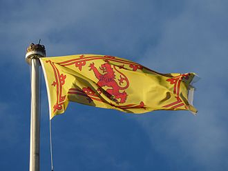 Royal Banner of Scotland - Royal Banner being flown above Holyrood Palace