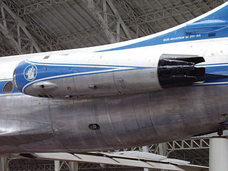Sud Aviation Caravelle - Close up view of the rear fuselage of a Caravelle. Note the Rolls-Royce Avon turbojet engine