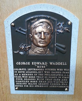 Rube Waddell - Waddell's plaque at the National Baseball Hall of Fame and Museum