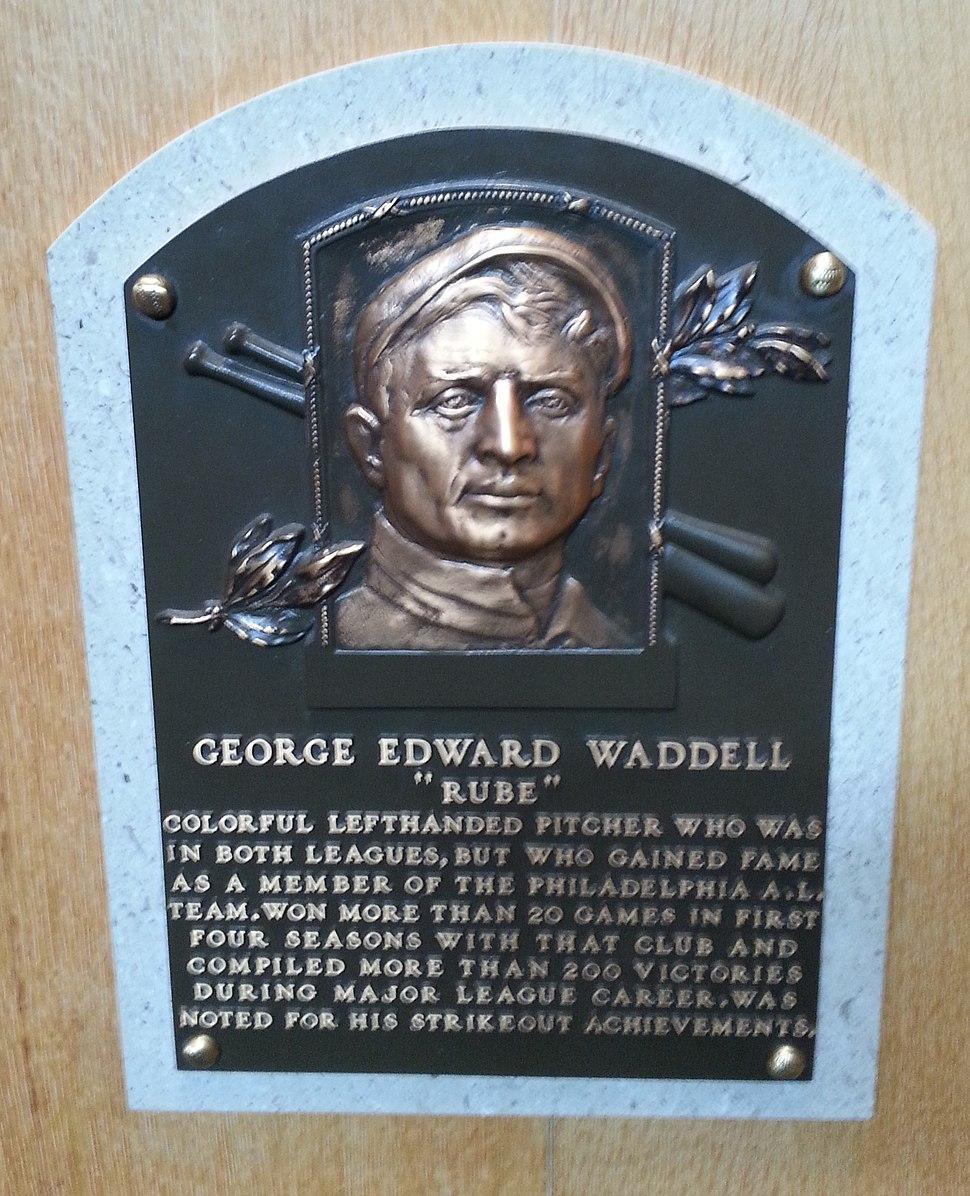 Rube Waddell plaque HOF