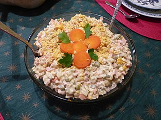Olivier salad traditional salad dish in Russian cuisine