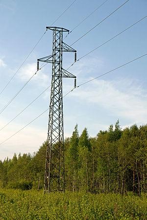 English: Electricity pole near Mäntyluoto harbour.