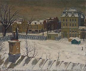 Gezicht op het terrein van het voormalige Paleis voor Volksvlijt, geschilderd vanuit atelier aan het Westeinde
