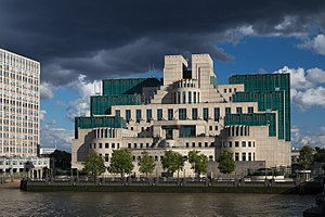 Secret Intelligence Service - The SIS building at Vauxhall Cross, London, seen from Vauxhall Bridge