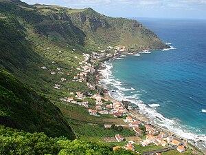 Santa Bárbara (Vila do Porto) - The scenic landscape of the former caldera, village and bay of São Lourenço