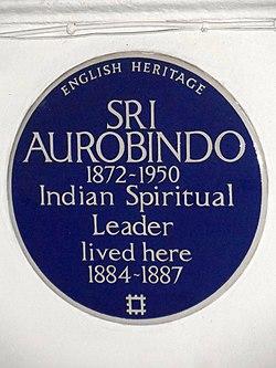 Photo of Sri Aurobindo blue plaque