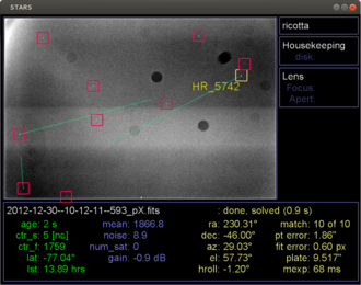 Attitude control - The STARS real-time star tracking software operates on an image from EBEX 2012, a high-altitude balloon-borne cosmology experiment launched from Antarctica on 2012-12-29