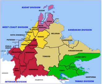 Districts of Malaysia - Districts and divisions in Sabah