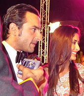 Kareena Kapoor and Saif Ali Khan being interviewed