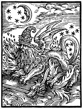Salamanders in folklore - Sixteenth-century woodcut questionably identified as a depiction of a salamander by Manly P. Hall