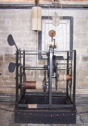 Mechanization - The Salisbury cathedral clock ca. 1386.  A clock is a mechanical instrument rather than a true machine.  Although this clock had iron gears, many machines of the early Industrial Revolution used wooden parts until around 1800.