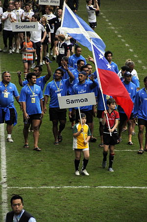 Rugby union in Samoa - The Samoa Sevens team on March 2009.